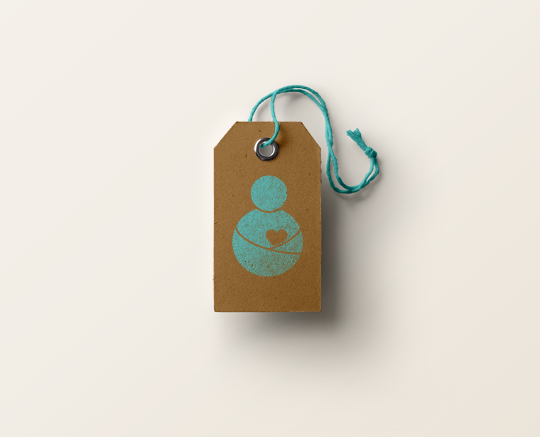Label Mockup of a logo design for an organic cotton baby brand. Teal colour.