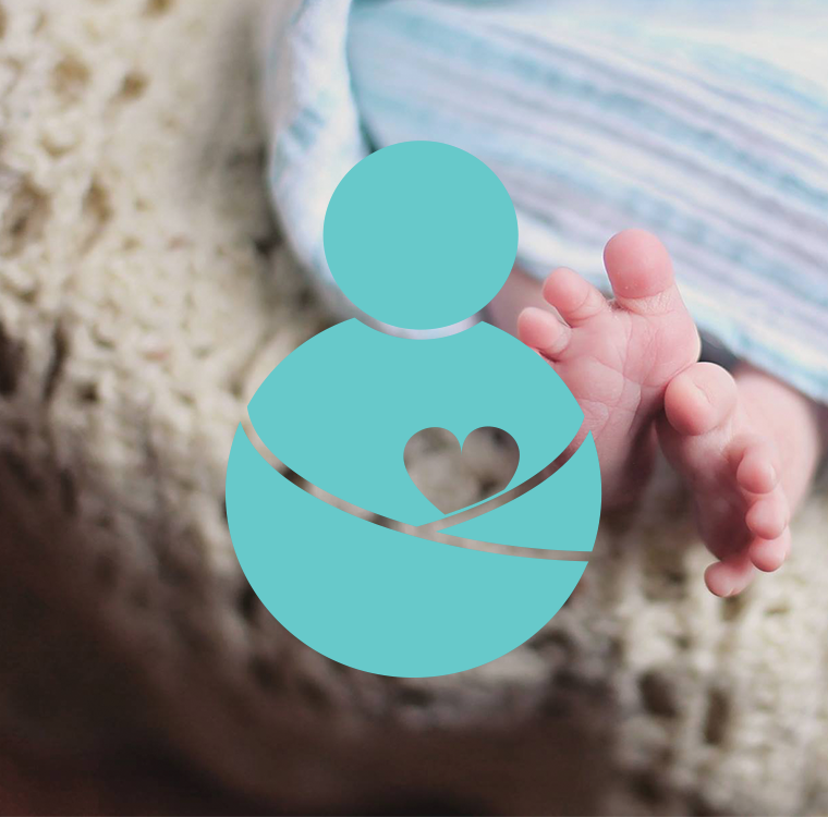 Logo design for a baby brand. Warmth and love. Using teal.