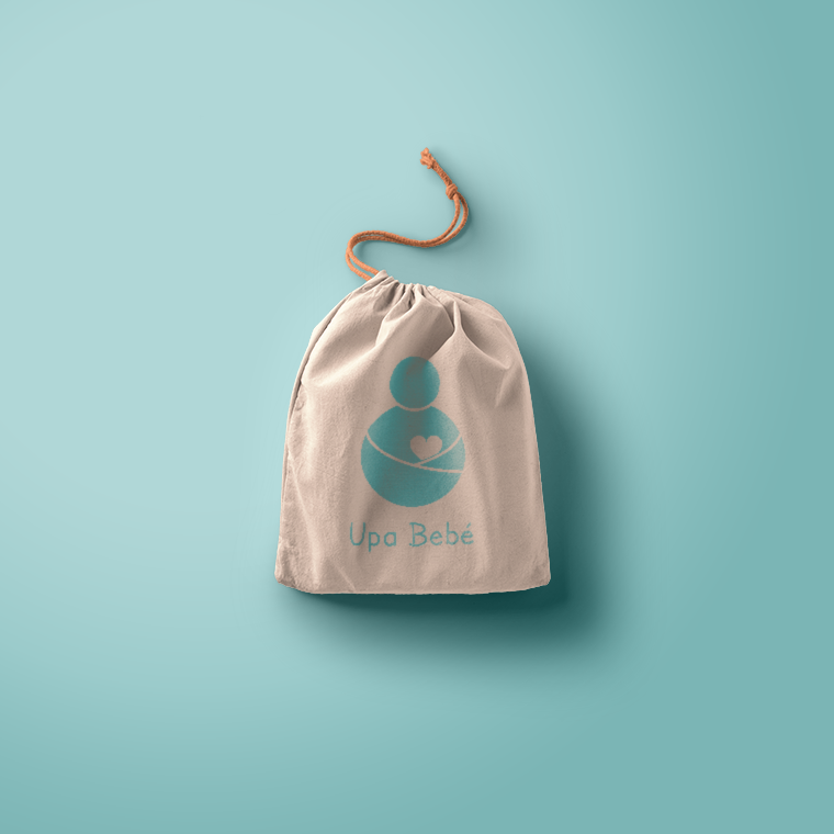 Packaging mockup with a logo designed a baby brand. Teal colour.
