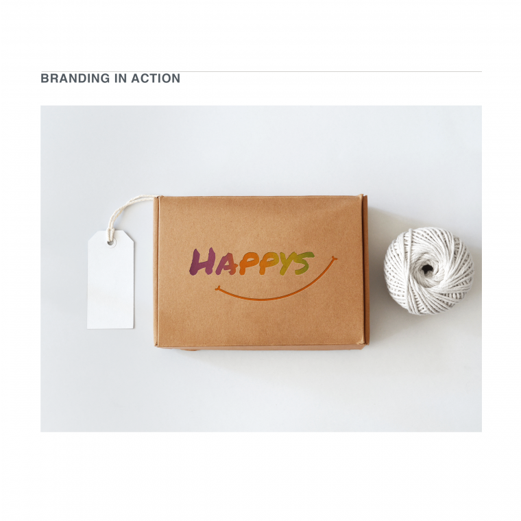 Packaging mockup for a happy and playful Logo Design for a brand of hand-knitted slippers